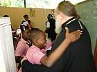 Гаитянские школьники приветствуют Митрополита Илариона, Первоиерарха РПЦЗ.