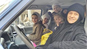 Сестра Марфа и девочки так благодарны Вам за новый микроавтобус!